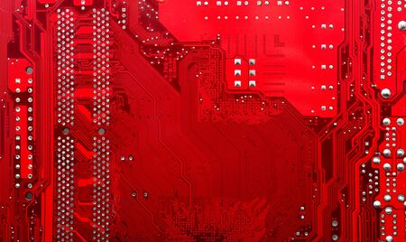 red electronic circuit mother board pattern background
