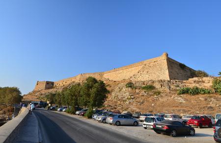 fortezza: RETHYMNO, GREECE - 08.03.2016: Venetian Fortezza fortress landmark exterior walls architecture