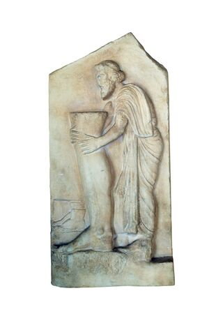 stele: greek ancient marble grave stele isolated over white Stock Photo