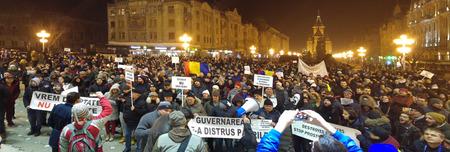 manifestation: TIMISOARA, ROMANIA - 01.29.2017: anti government protests against pardon manifestation crowd