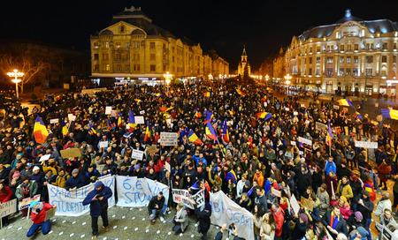 manifestation: TIMISOARA, ROMANIA - 02.04.2017: anti government protests against pardon manifestation crowd