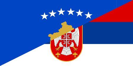 neighbour: kosovo serbia neighbour countries half flag symbol Stock Photo