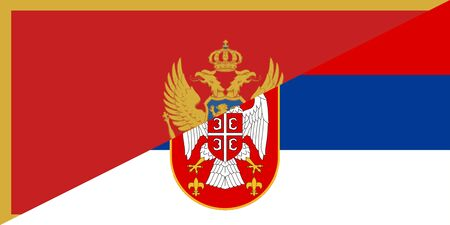 montenegro serbia neighbour countries half flag symbol Stock Photo