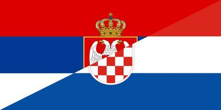 serbia croatia neighbour countries half flag symbol Stock Photo