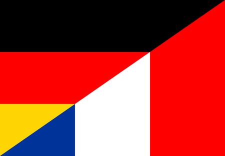 germany france neighbour countries half flag symbol Stock Photo