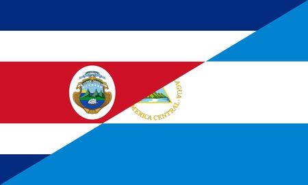 costa rica nicaragua neighbor countries half flag symbol