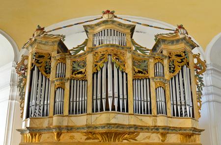 pipe organ: catholic church historic pipe organ close view Stock Photo