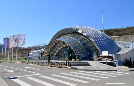 turda: TURDA, ROMANIA - 04.04.2017: Underground modern salt mine landmark entrance