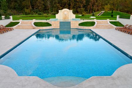 BAZOS, ROMANIA - 09.28.2017: Villa Trevi swimming pool landmark architecture Editorial
