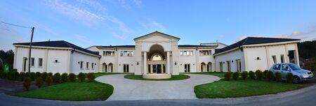 BAZOS, ROMANIA - 09.28.2017: Villa Trevi landmark architecture panorama Editorial