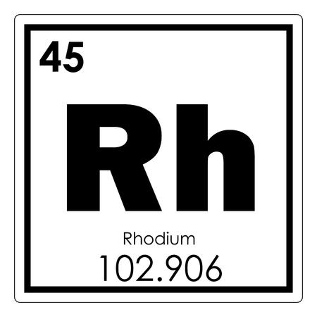 Elemento químico de rodio tabla periódica símbolo de ciencia Foto de archivo - 93638012