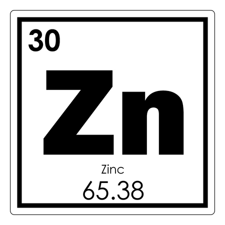 Zinc chemical element periodic table science symbol Stockfoto