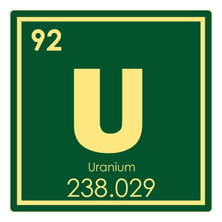Uranium Chemical Element Periodic Table Science Symbol Stock Photo
