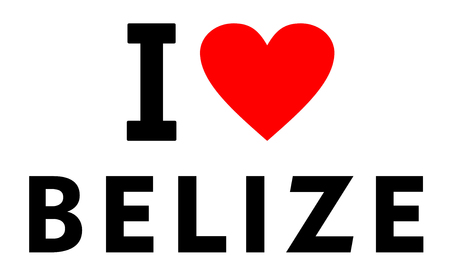 I love Belize country text red heart message
