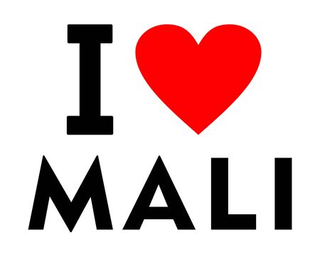 I love Mali country text red heart message