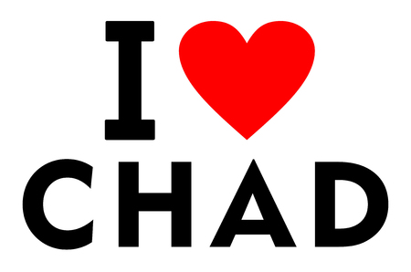 I love Chad country text red heart message
