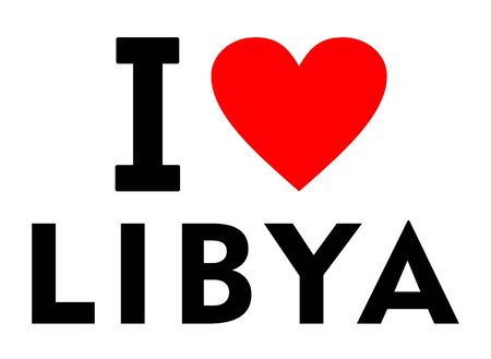 I love Libya country text red heart message Stockfoto