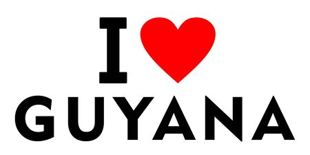 I love Guyana country text red heart message Stock Photo