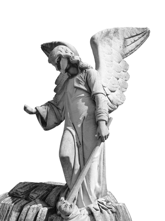 stone angel statue isolated over white background