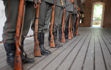 first World War prussian soldiers in line formation Stock Photo