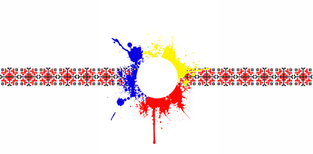 Romania country traditional motif and splatter symbol strip template