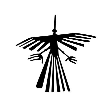 Nazca Peru bird ancient geoglyph symbol Stock Photo