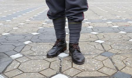 First world war soldier feet uniform detail Stock Photo