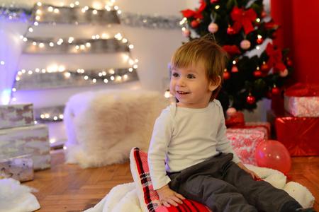 Christmas theme  studio beautiful little kid Stock Photo