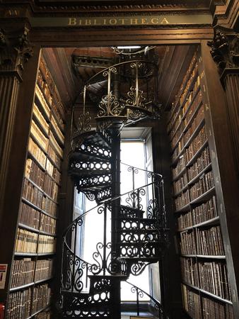 Long Room ladder of trinity college Dublin Republic of Ireland Stock Photo