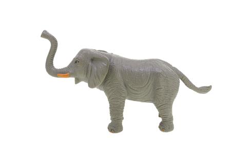 Plastic toy elephant isolated over white Stock Photo