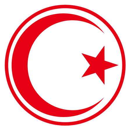 Tunisia country roundel flag based round symbol Фото со стока