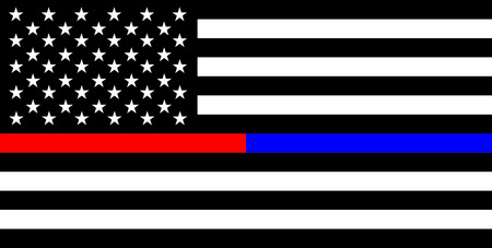 United states of america country police thin blue red line flag