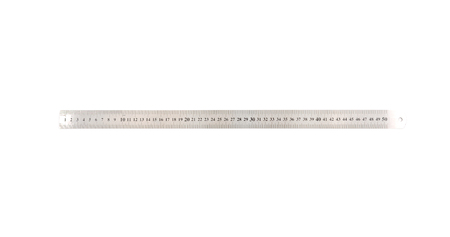 Metal measuring ruler object isolated over white