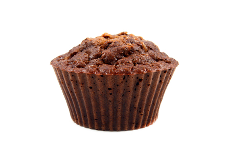 Chocolate brown muffin isolated over white