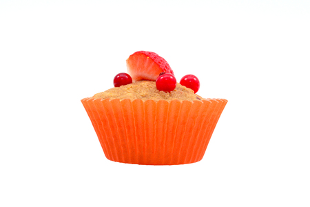 Strawberries fruits muffin isolated over white