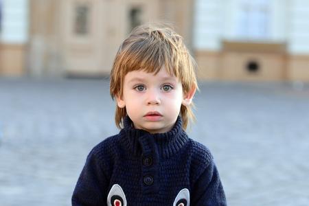 Beautiful blue eyed little kid toddler portrait Stock Photo
