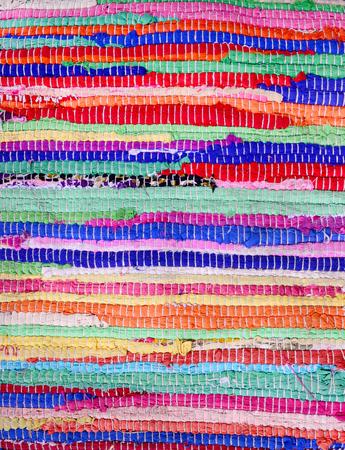 Textile leftovers handmade carpet pattern stripes colorful 写真素材