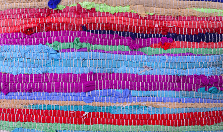 Textile leftovers handmade carpet pattern stripes colorful Banco de Imagens