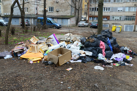 City urban trash pollution garbage thrown illegally