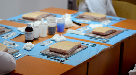 Medical school  laboratory setup for surgery on pig meat