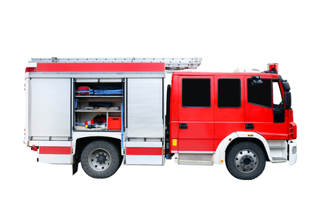 Firefighters truck fire rescue vehicle isolated over white Banco de Imagens