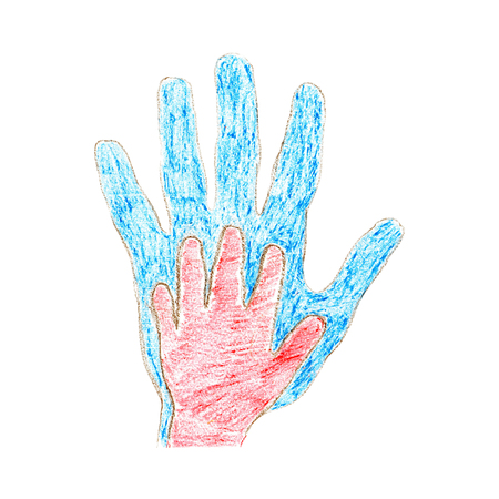 Parent and child palm father son mother daughter hand drawing