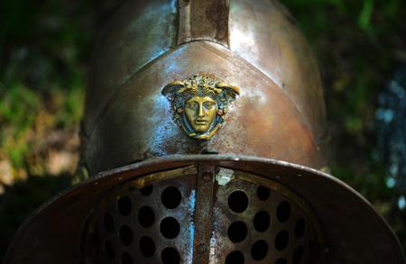 Gladiator ancient soldier metal helmet close detail Banco de Imagens