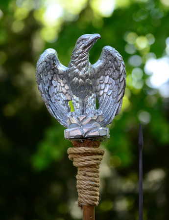 Roman empire metal eagle pennant flag symbol Banco de Imagens