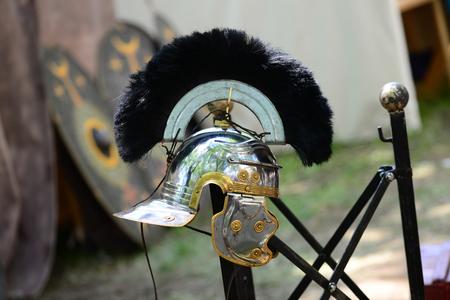Roman empire soldier centurion metal helmet detail