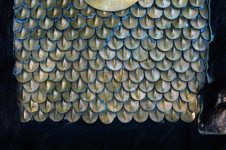 Ancient soldier metal armor close detail texture