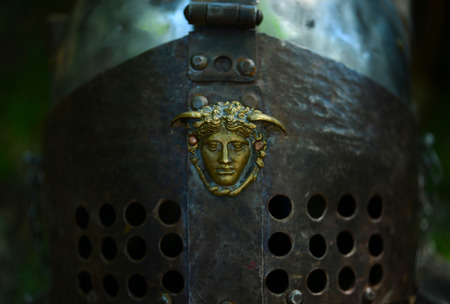 Gladiator ancient soldier metal helmet close detail Zdjęcie Seryjne