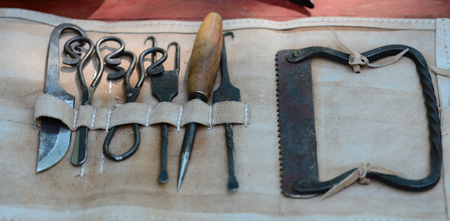 Roman doctor medical surgery tools kit detail