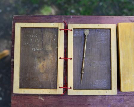 Roman empire wax writing sheets close detail Banco de Imagens