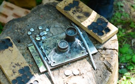 Ancient roman empire coin factory mint detail